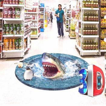 3D Shark in Sea with White Edges Pattern PVC Waterproof and Eco-friendly Floor Murals#ecofriendly