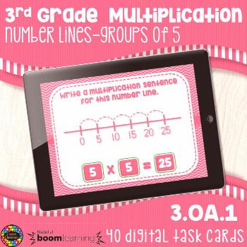 3OA1 Multiplication Number Lines 5's Digital Task Cards Distance Learning Boom Cards This product i