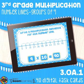 3OA1 Multiplication Number Lines 9's Digital Task Cards Distance Learning Boom Cards  This product