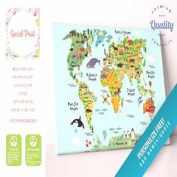 Animal World Map with Landmarks & Sights Canvas Print / FREE SHIPPING