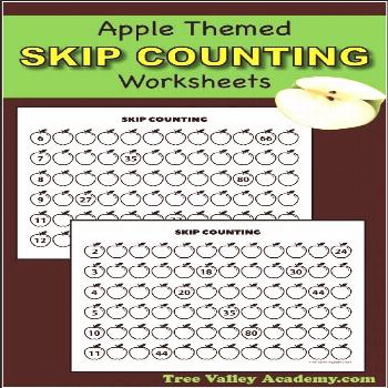 Apple Skip Counting Worksheets - Tree Valley Academy Apple themed skip counting worksheets. Free pr