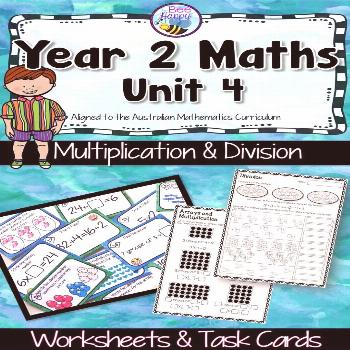 Australian Curriculum Multiplication & Division Worksheets and Task Cards Year 2 Multiplication and