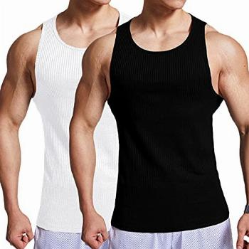 Babioboa Men's 2 Pack Gym Ribbed Tank Tops Y-Back Workout