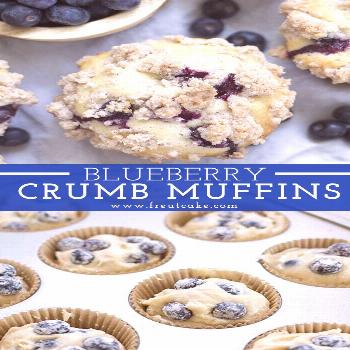 Bakery Style Blueberry Crumb Muffins#bakery