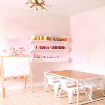 Beautiful pastel pink wall A pink wall in your home in modern option! Lovely Pastle Touch peel&stic