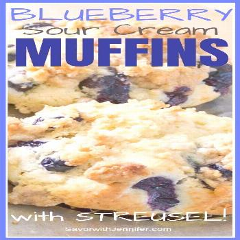 Blueberry Sour Cream Muffins with Streusel Topping These easy, homemade muffins come together in mi