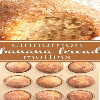 Cinnamon Banana Bread Muffins | The best banana muffin recipe is moist and topped with cinnamon & s