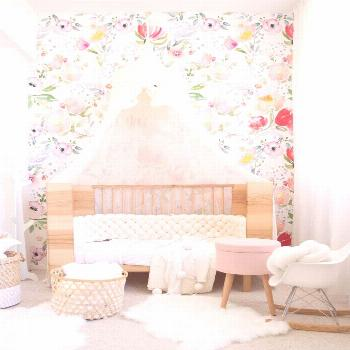 Floral pastel spring wall mural  A lovely removable wallpaper Holiday in the Countryside peel&stick
