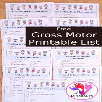 Free Gross Motor Printable List Free Gross Motor Printable List with  12 pages of gross motor activ