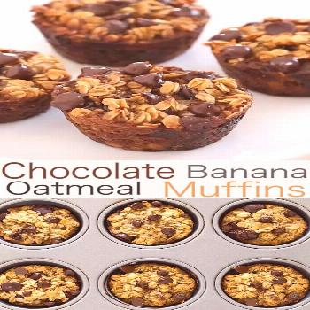 Healthy Banana Chocolate Chip Oatmeal Muffins -   -