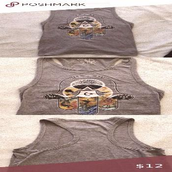 Heather gray Chaser graphic muscle tee Used size small Chaser muscle tee with racer back. Graphics