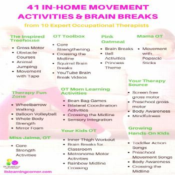 In-Home Movement Activities and Brain Breaks from the Best Occupational Therapists - Integrated Lea