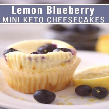Lemon Blueberry Low Carb Cheesecake Muffins are delicious keto desserts with tart lemon and blueber