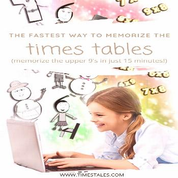 Memorize The Upper 9's Times Tables in 15 Minutes! With Times Tales, your child can memorize the up
