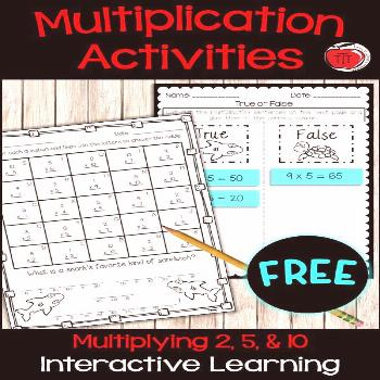 Multiplication Practice - 2, 5, 10 times tables Free multiplication practice activities. Students w