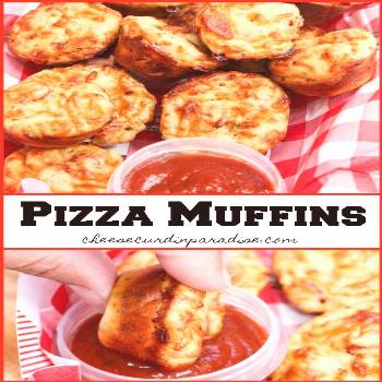 Pizza Muffins are packed with 2 cheeses, seasoning, and pepperoni! Perfect for a school lunch or a