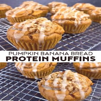 Pumpkin Banana Bread Protein Muffins with Candied Walnut Streusel -