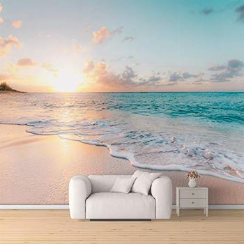 SIGNFORD Wall Mural Romantic Beach Removable Wallpaper Wall