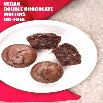 These Vegan Double Chocolate Muffins are super easy to make, just 8 ingredients and are so rich and