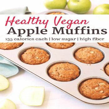 These whole wheat vegan apple muffins are low in sugar but rich in flavor and fiber! A perfect heal