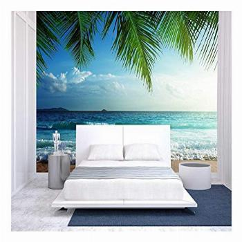 wall26 - Sunset on Seychelles Beach - Removable Wall Mural  