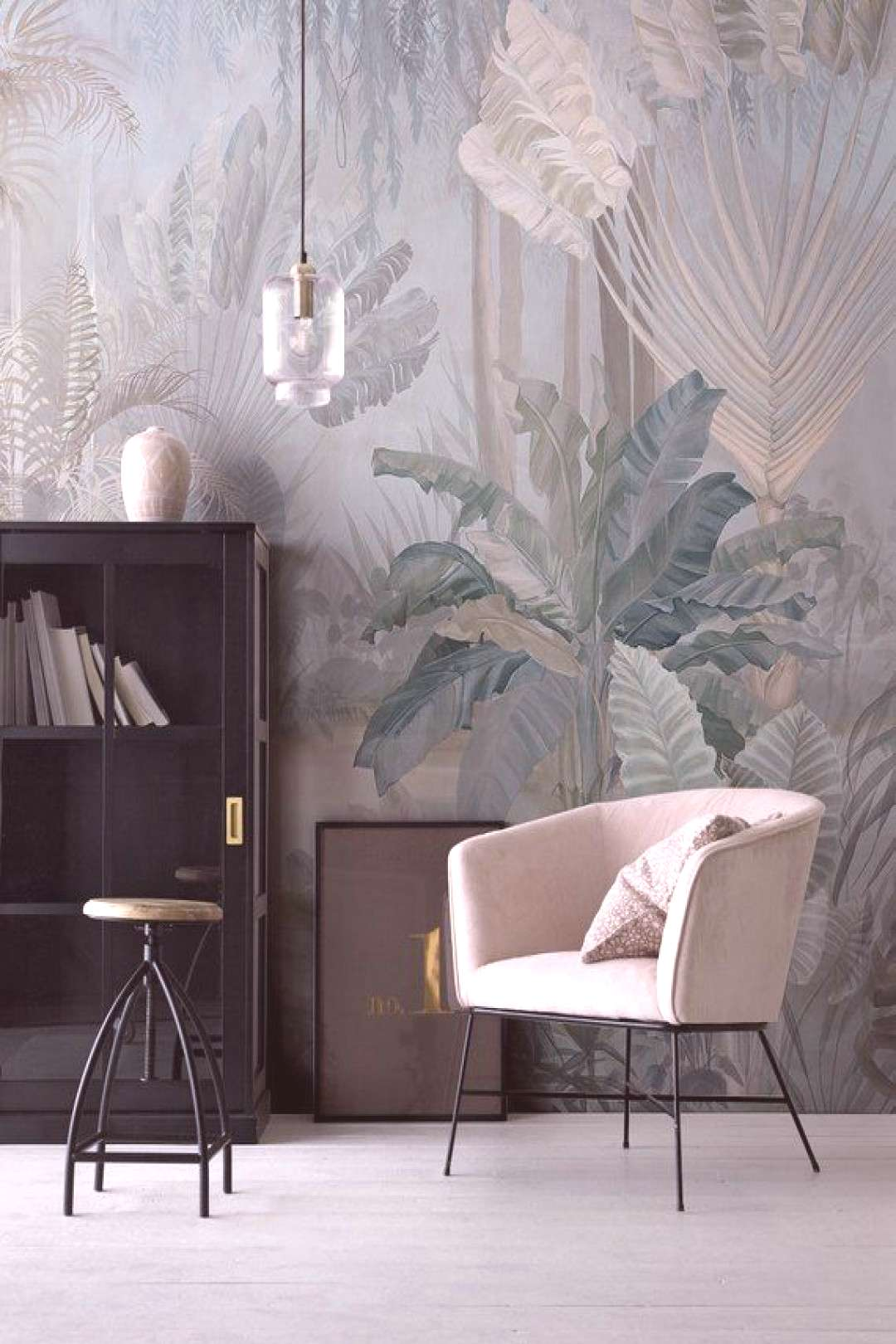 Chinoiserie Scenic Panoramic Wallpaper Repeat Mural, Home Decor Wall Murals, Floral Landscape Wallp