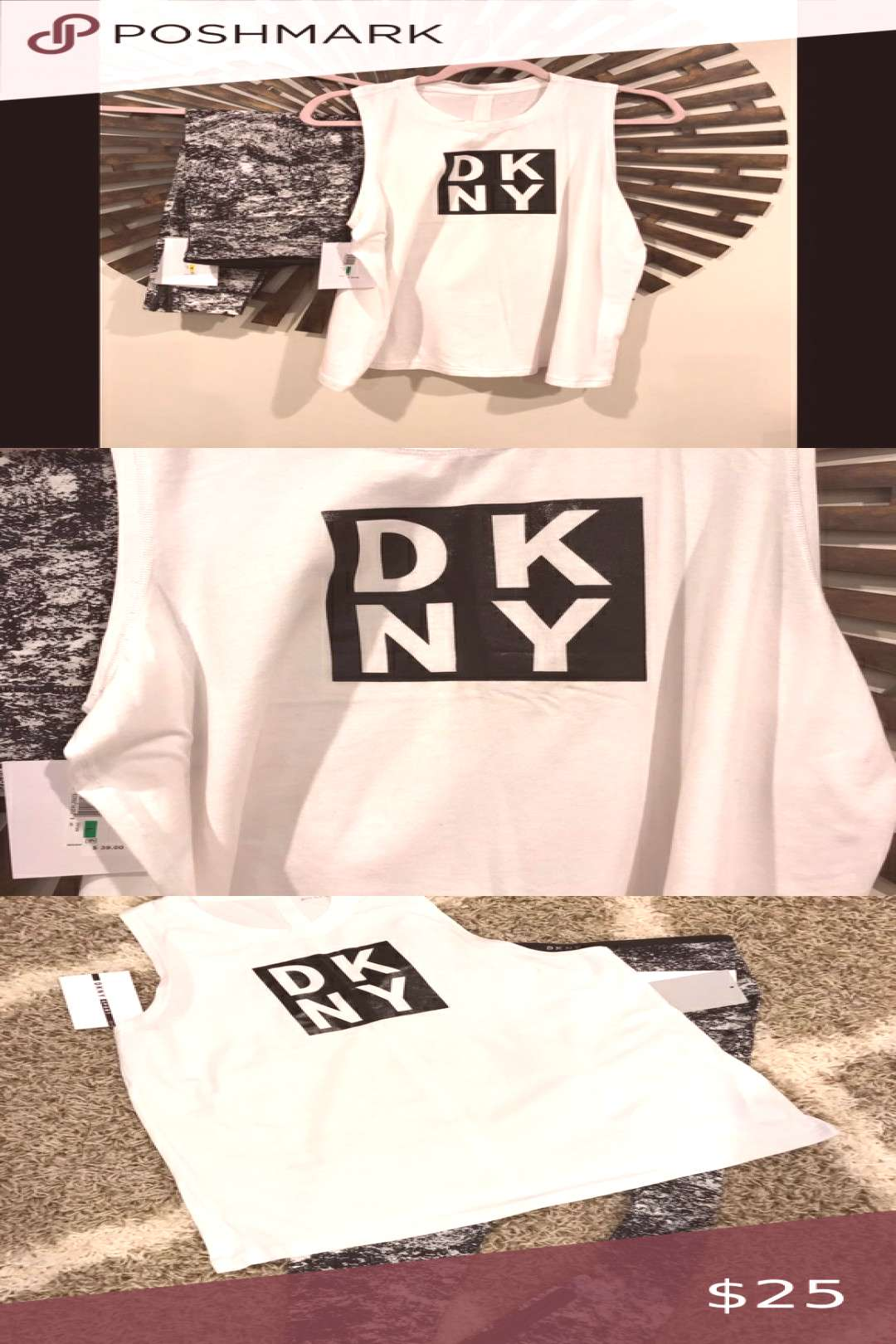 DKNY White muscle Tee size large DKNY Muscle tee size L NWT. Matches workout legging I also have fo