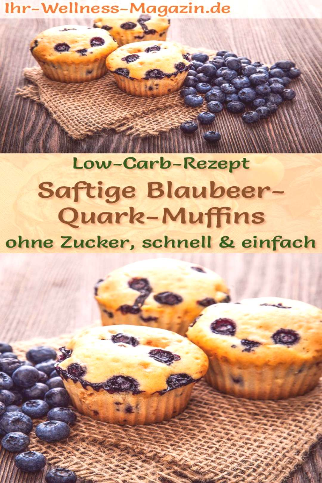 Juicy low carb blueberry quark muffins - simple recipe without sugar - -