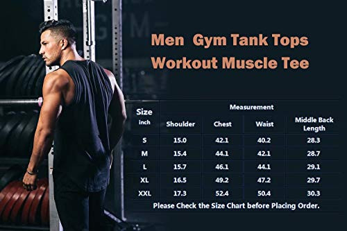 LecGee Mens Workout Tank Tops 3 Pack Sleeveless Shirts Gym