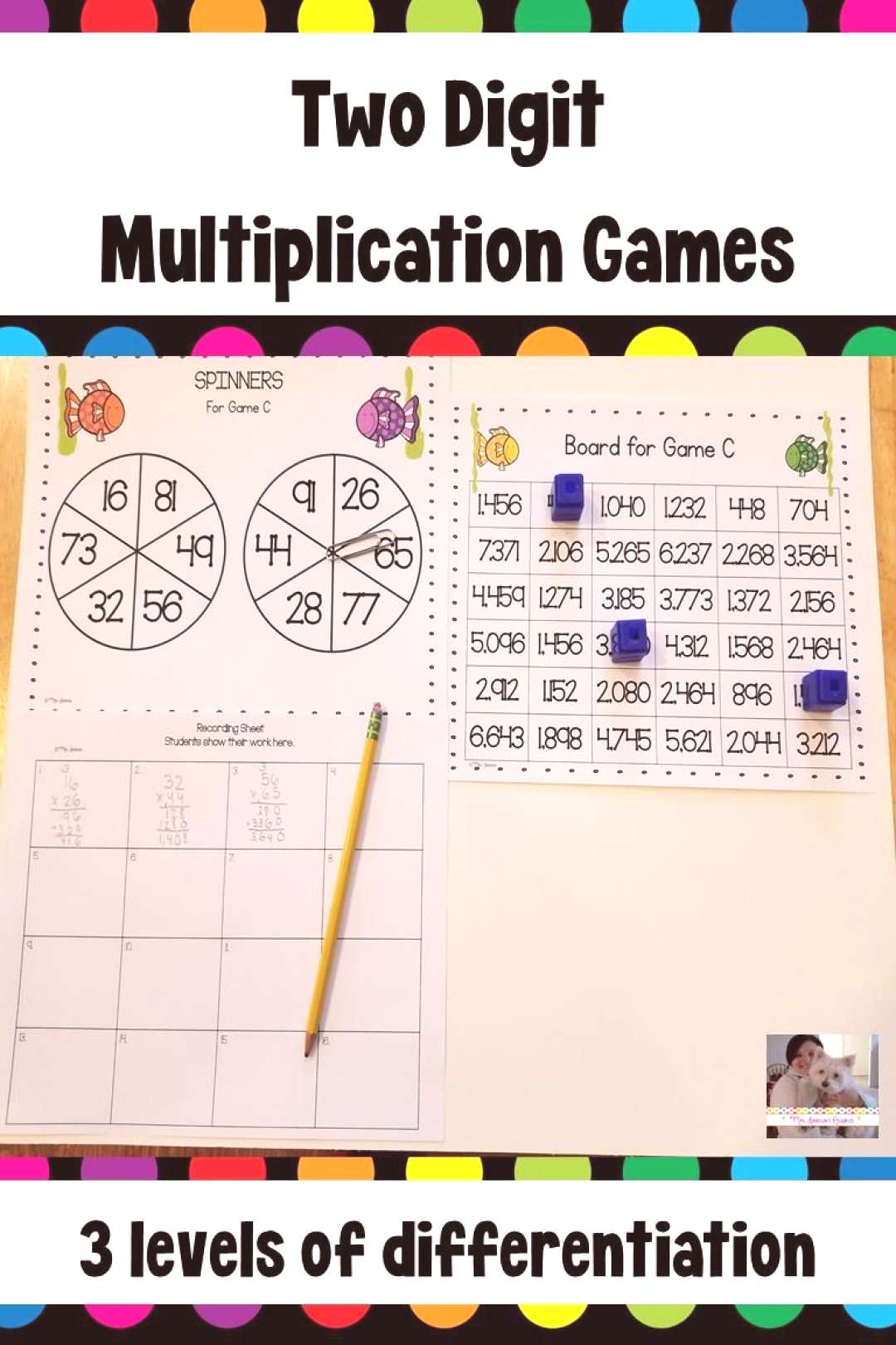 Two Digit Multiplication Spinner Games  This game is a fun, hands-on activity that engages students