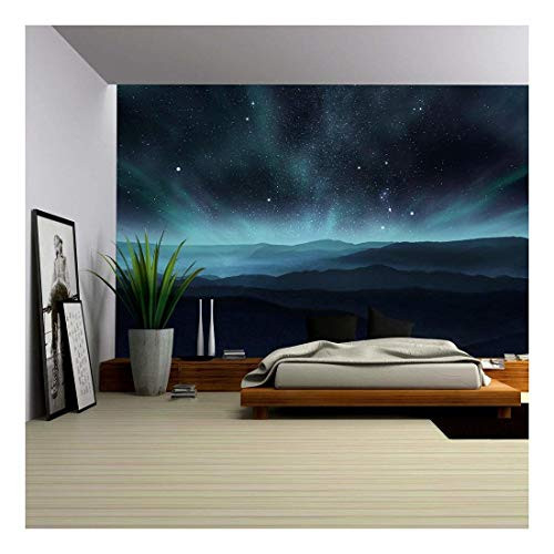 wall26 - Starry Night Sky with Aurora Over The Hills -